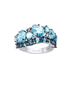 Anillo de Oro Blanco 14K con 3 Pts de Diamante y Topacio (2 Tonos de Azul)