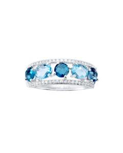 Anillo de Oro Blanco con 14 Pts de Diamante y Topacio Azul