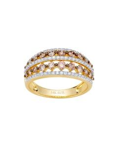 Anillo de Oro Amarillo con 23 Pts de Diamante y 78 Pts de Diamante Café