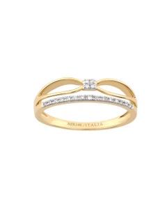 Anillo de Oro Amarillo con Diamante con 6 Puntos de Diamante