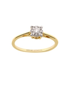 Anillo de Oro Amarillo Platinado con 10 Pts de Diamante
