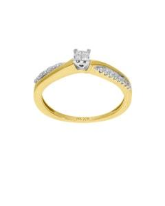 Anillo Solitario de Oro Blanco y Amarillo 14K con 15Pt de Diamante
