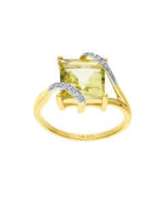 Anillo De Oro Amarillo 14k Con 3pts De Diamante Y Cuarzo Lemon