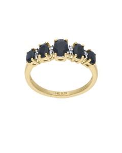 Anillo de Oro Amarillo 14K con 3 Pts de Diamante y Zafiro Negro (H-I, I1-I2)