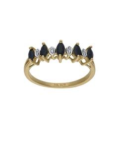 Anillo de Oro Amarillo 14K con 2 Pts de Diamante y Zafiro Negro (H-I, I1-I2)