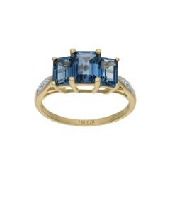 Anillo de Oro Amarillo 14K con 1Pto de Diamante y Topacio Azul (H-I, I1-I2)
