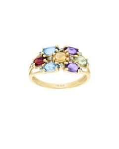 Anillo de Oro Amarillo 14K con 3 Pts de Diamante y Piedras Preciosas