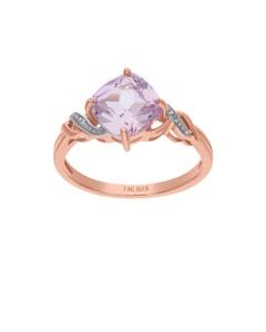 Anillo de Oro Rosa 14K con 1Pto de Diamante (H-I) (I1-12) y Zafiro