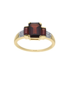 Anillo de Oro Amarillo 14K con 1Pto de Diamante y Granate (H-I, I1-I2)