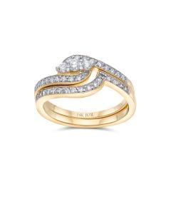 Duo De Anillos De Oro Amarillo 14K Con 50Pts De Diamante (G-I) (Si1-Si2)