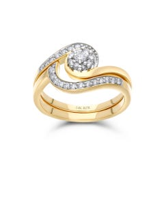 Duo De Anillos De Oro Amarillo 14K Con 34Pts De Diamante (G-I) (Si1-Si2)