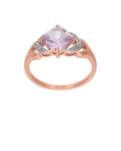 Anillo de Oro Rosa14K 2Pts de Diamante (H-I9 (I1-I2) y Zafiro