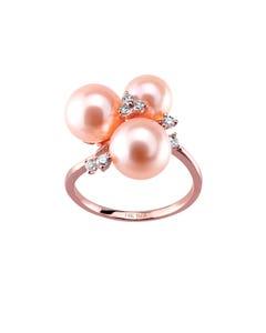 Anillo de Oro Rosa con 14 Pts de Diamante y Perlas Rosas