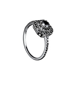 Anillo de Oro Blanco 14K con 66 Pts de Diamante Negro (Si2 - H)