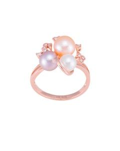 Anillo de Oro Rosa con 8 Pts de Diamante y Perlas de Varios Tonos