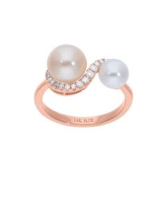 Anillo de Oro Rosa 14K con 14 Pts de Diamante y Perlas de Color (G-H, S-I)