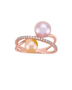Anillo de Oro Rosa con 12 Pts de Diamante y Perlas de Dos Tonos