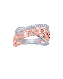 Anillo de Oro Blanco y Rosa con 30 Pts de Diamante