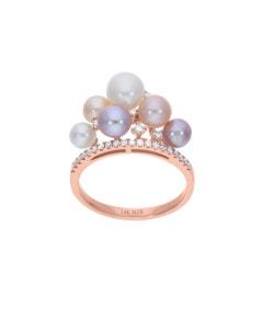 Anillo de Oro Rosa 14K con 21 Pts de Diamante y Perlas de Color (G-H, S-I)