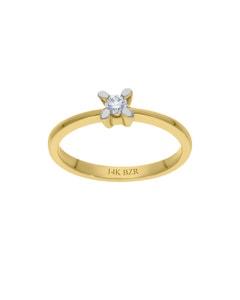 Anillo Oro Amarillo 14K con 12Pts de Diamante