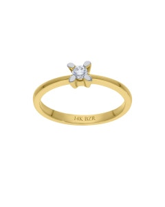 Anillo Oro Amarillo 14k Con 12pts De Diamante