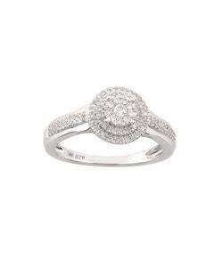Anillo de Oro Blanco con 33 Puntos de Diamante