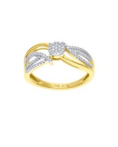 Anillo De Oro Amarillo 14k Con 20pts De Diamante