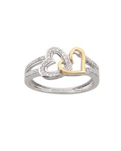 Anillo de Corazon Oro Blanco y Amarillo con 15 Puntos de Diamante