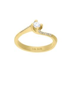 Anillo de Oro Amarillo 14K con 22 Pts de Diamante