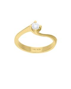 Anillo de Compromiso Solitario de Oro Amarillo 14K con 20 Puntos de Diamante