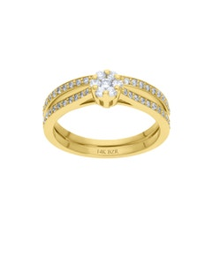 Anillo de Oro Amarillo 14K con 48 Pts de Diamante