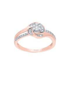 Anillo de Oro Rosa y Blanco 14K con 27 Pts de Diamante