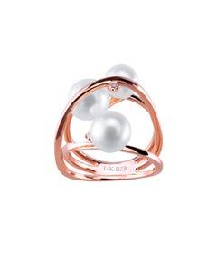 Anillo de Oro Rosa con 3 Pts de Diamante y Perlas
