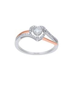 Anillo de Oro Blanco y Rosa 14K Con25Pts de Diamante