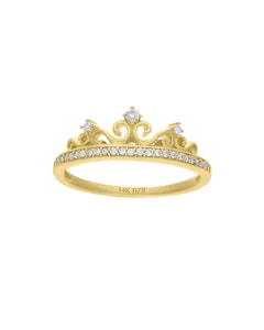 Anillo de Oro Amarillo 14K con 15 Pts de Diamante (H-I, I1)
