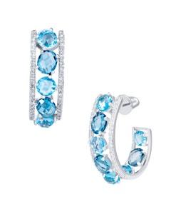 Arracadas de Oro Blanco 14K con 22 Pts de Diamante y Topacio Azul