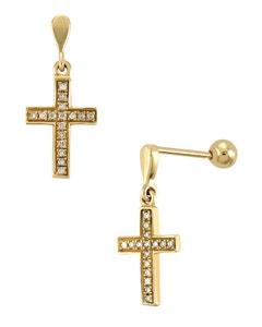 Aretes de Oro Amarillo con 8 Pts Diamante