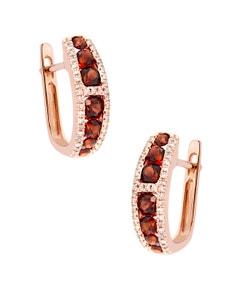 Arracadas de Oro Rosa 14K con 21 Pts de Diamante y 19 Pts de Granate