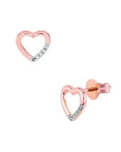 Broqueles de Oro Rosa 14K con 3 Pts de Diamante