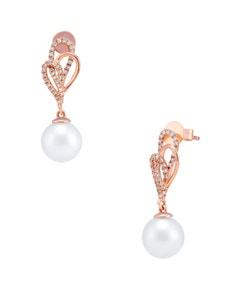 Aretes de Oro Rosa con 20 Pts de Diamante y Perla