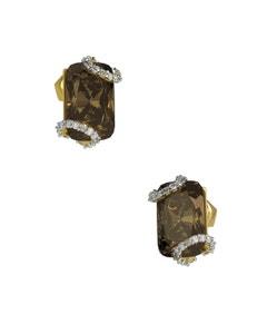 Broqueles de Oro Amarillo de 14K con 8 Pts de Diamante y Smoky