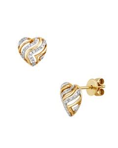 Aretes de Oro Amarillo con 12 Pts . de Diamante