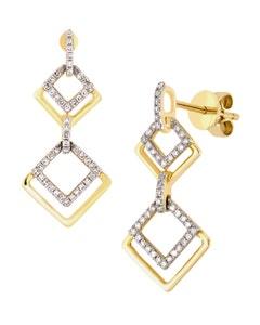Aretes de Oro Amarillo con 20 Pts de Diamante