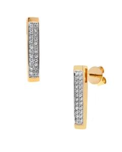Aretes de Oro Amarillo con 15 Pts de Diamante