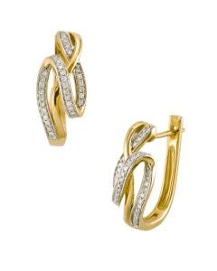 Arracadas de Oro Rosa 14K con 20 Pts de Diamante