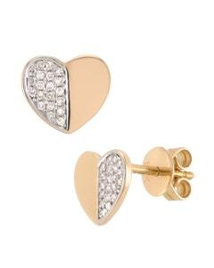 Broqueles de Oro Rosa de 14K con 8 Pts. de Diamante