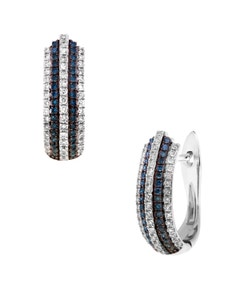 Arracadas de Oro Blanco con 26 Pts. Diamante y Zafiro Azul 14K
