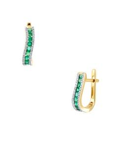 Aretes de Oro Amarillo con 19 Pts Diamantes y 38Pts Esmeraldas