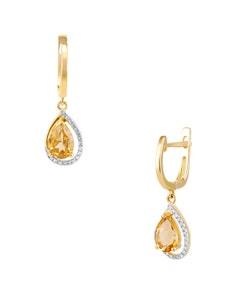Aretes de Oro Amarillo con 11 Pts . de Diamante y 113 Pts . de Citrina