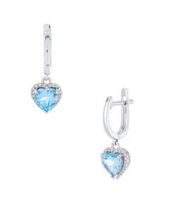 Aretes de Oro Blanco con 13 Pts de Diamante y 184 Pts de Topacio Azul